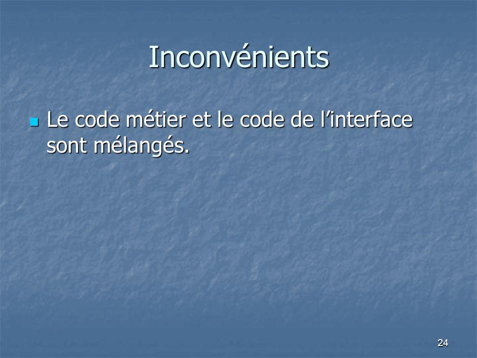 Inconvénients Le code métier et le code de l'interface sont mélangés.