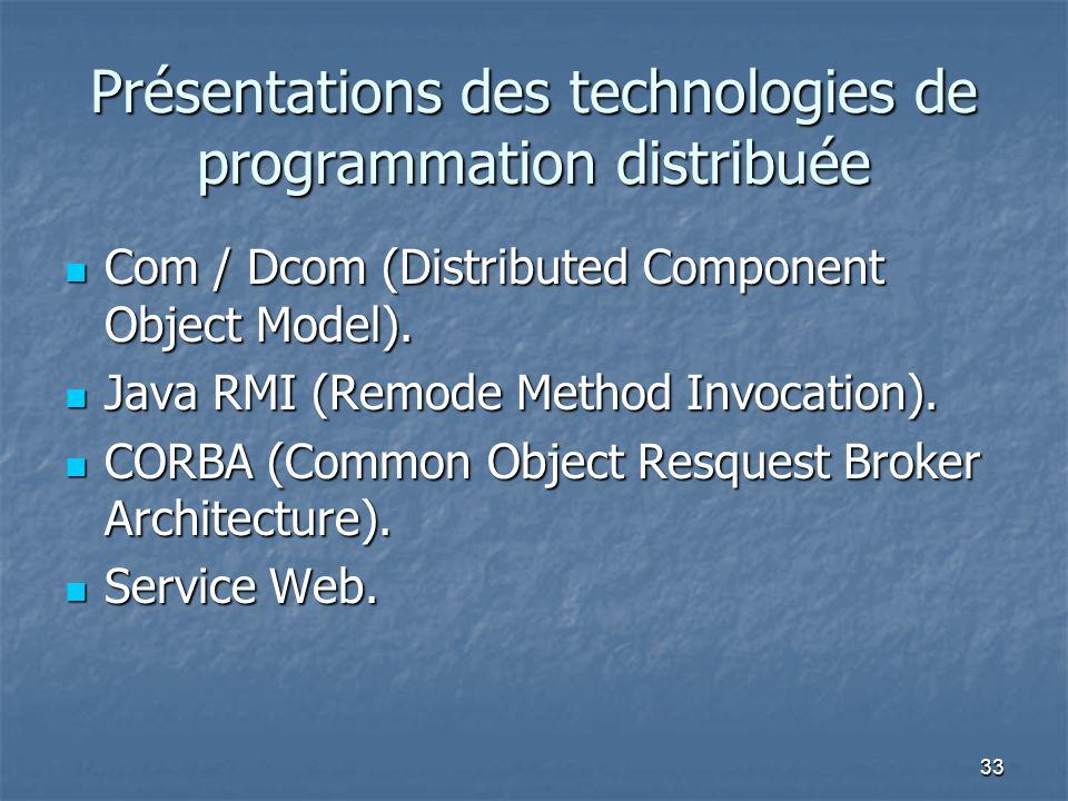 Présentations des technologies de programmation distribuée