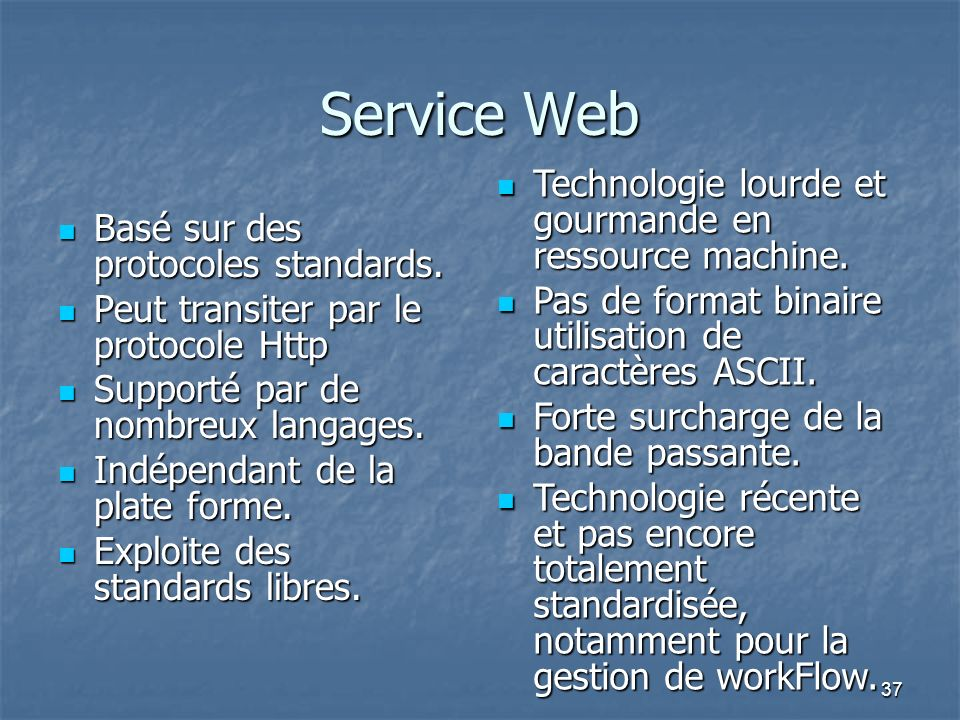 Service Web Technologie lourde et gourmande en ressource machine.