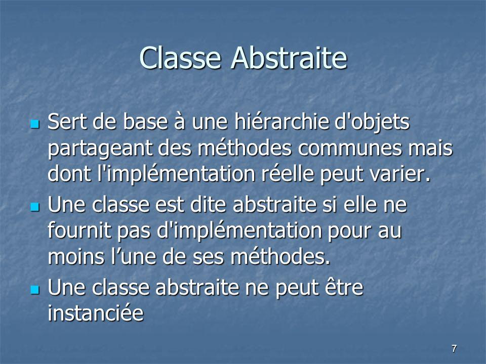 Classe Abstraite Sert de base à une hiérarchie d objets partageant des méthodes communes mais dont l implémentation réelle peut varier.