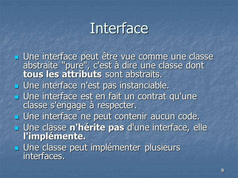 Interface Une interface peut être vue comme une classe abstraite pure , c est à dire une classe dont tous les attributs sont abstraits.
