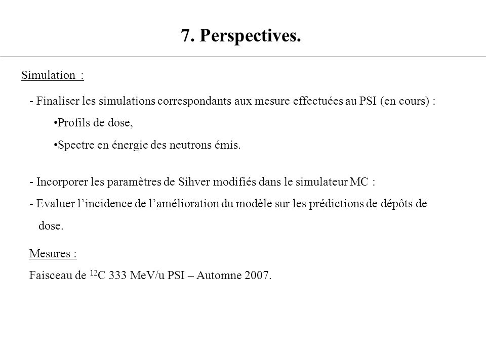 7. Perspectives. Simulation :