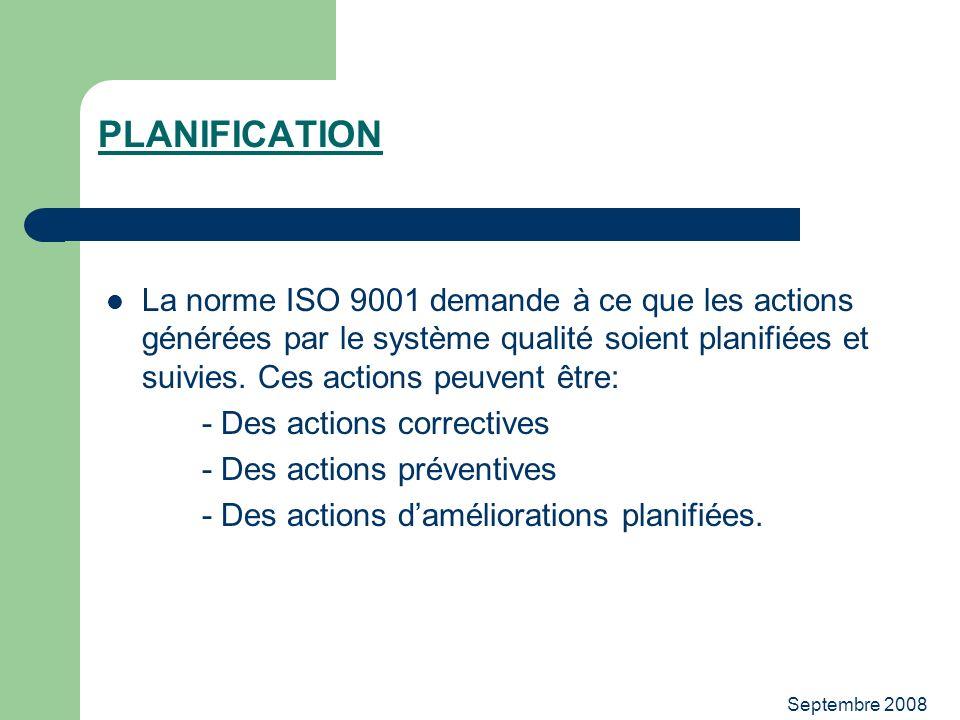 PLANIFICATION La norme ISO 9001 demande à ce que les actions générées par le système qualité soient planifiées et suivies. Ces actions peuvent être:
