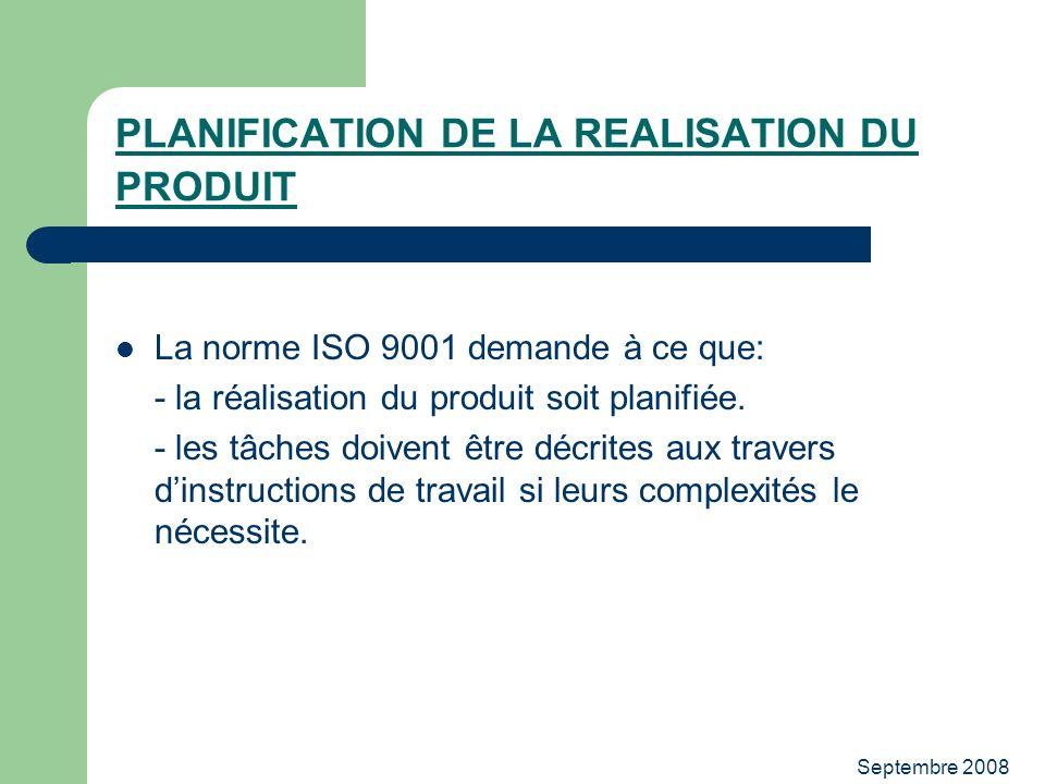 PLANIFICATION DE LA REALISATION DU PRODUIT