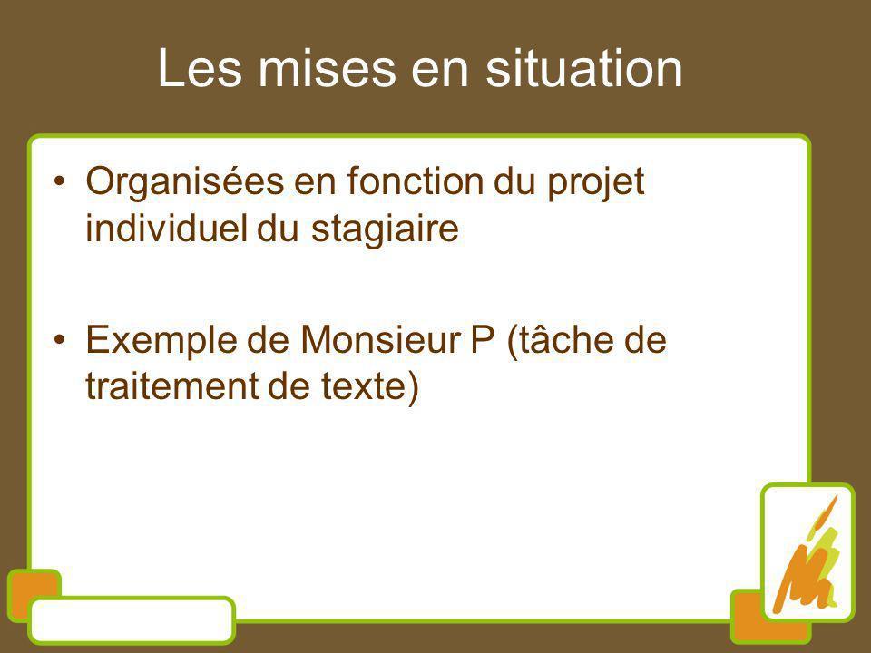 Les mises en situation Organisées en fonction du projet individuel du stagiaire.