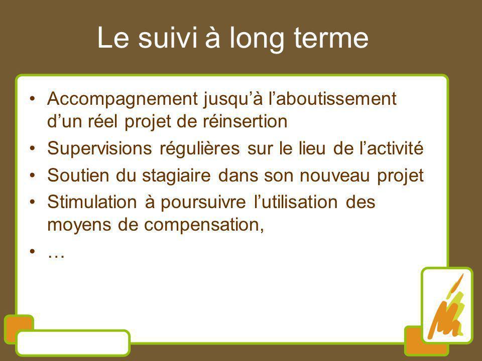 Le suivi à long terme Accompagnement jusqu'à l'aboutissement d'un réel projet de réinsertion. Supervisions régulières sur le lieu de l'activité.