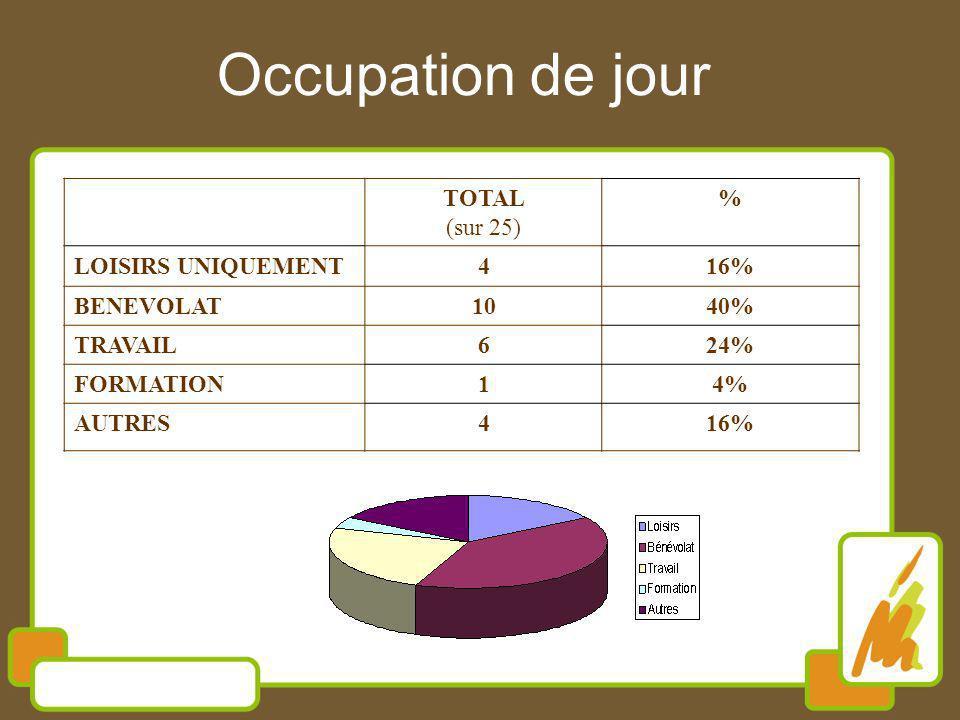 Occupation de jour TOTAL (sur 25) % LOISIRS UNIQUEMENT 4 16% BENEVOLAT