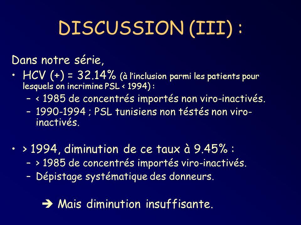 DISCUSSION (III) : Dans notre série,