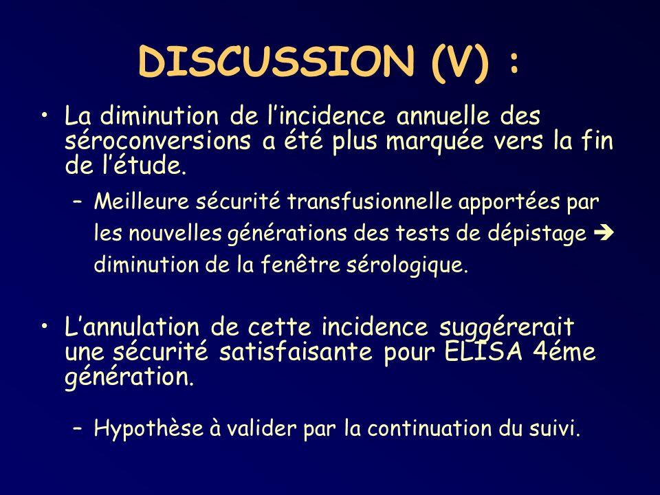 DISCUSSION (V) : La diminution de l'incidence annuelle des séroconversions a été plus marquée vers la fin de l'étude.