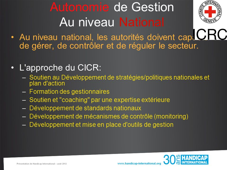 Autonomie de Gestion Au niveau National