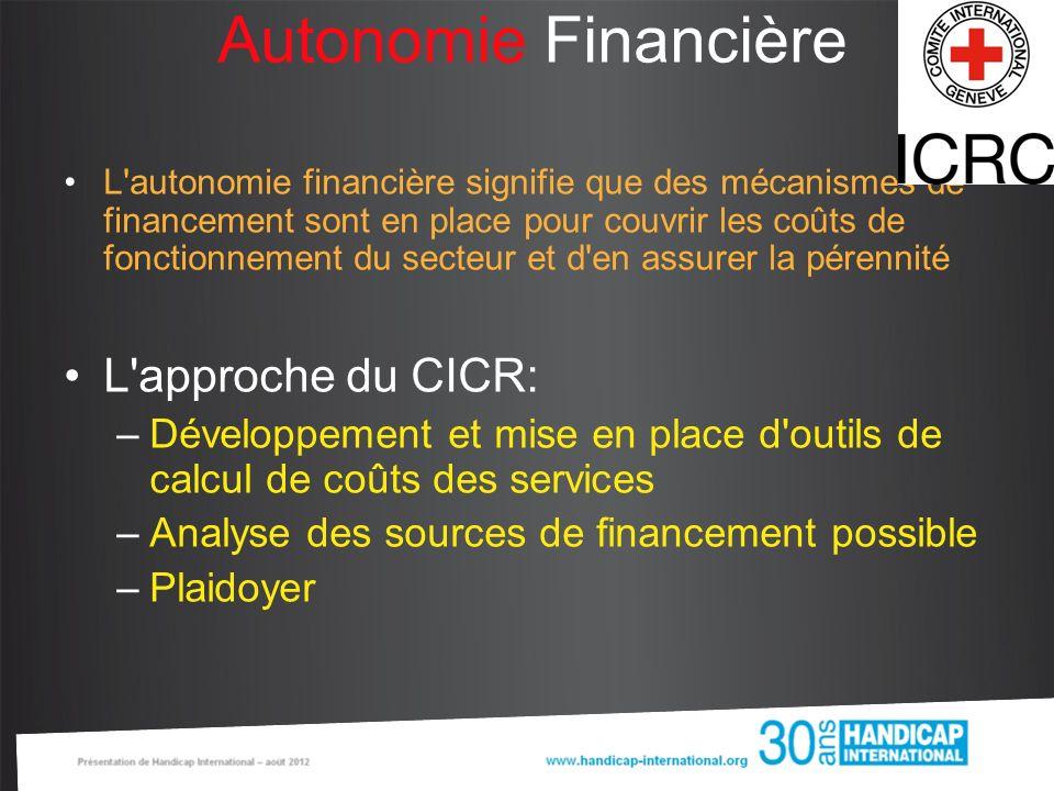 Autonomie Financière L approche du CICR: