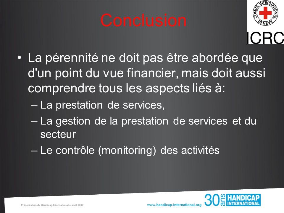Conclusion La pérennité ne doit pas être abordée que d un point du vue financier, mais doit aussi comprendre tous les aspects liés à: