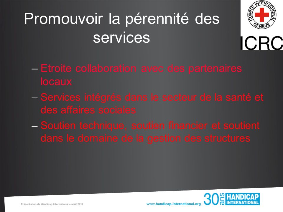 Promouvoir la pérennité des services