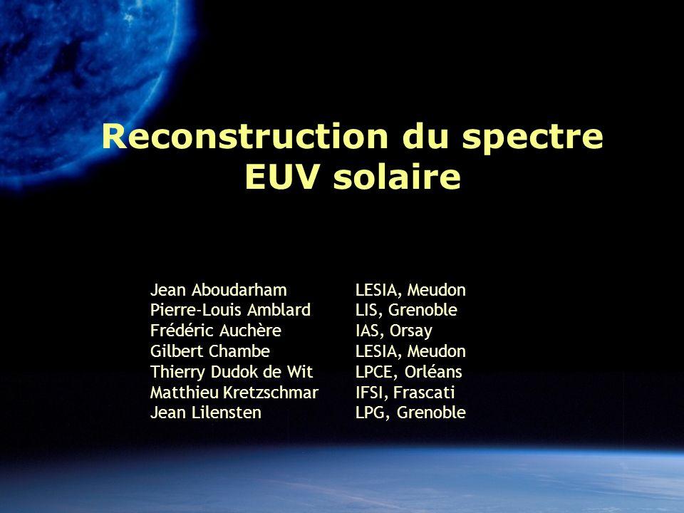 Reconstruction du spectre EUV solaire