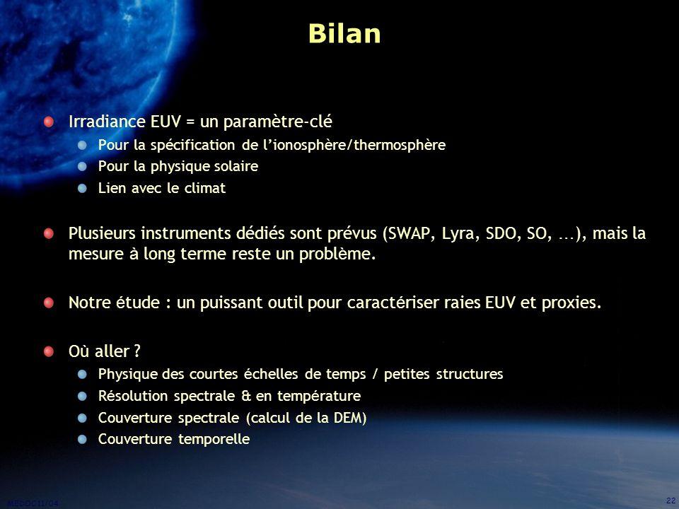 Bilan Irradiance EUV = un paramètre-clé
