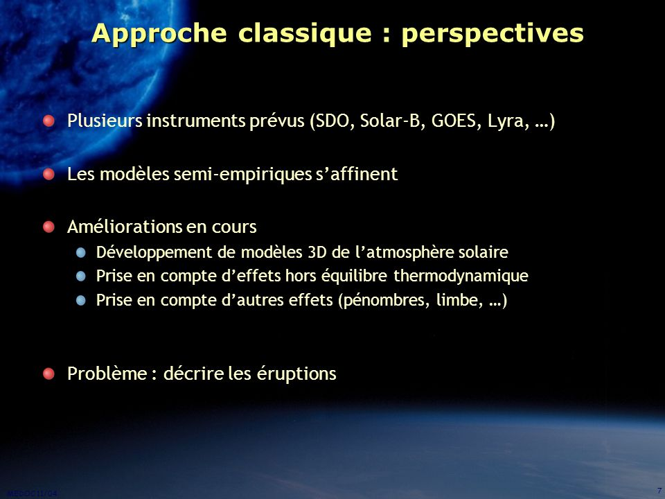 Approche classique : perspectives
