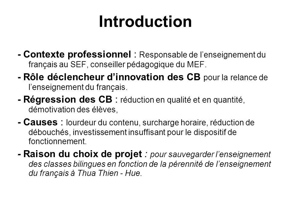 Introduction - Contexte professionnel : Responsable de l'enseignement du français au SEF, conseiller pédagogique du MEF.