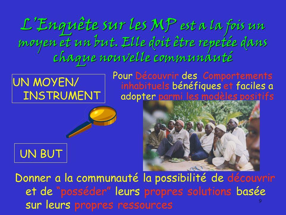 L'Enquête sur les MP est a la fois un moyen et un but