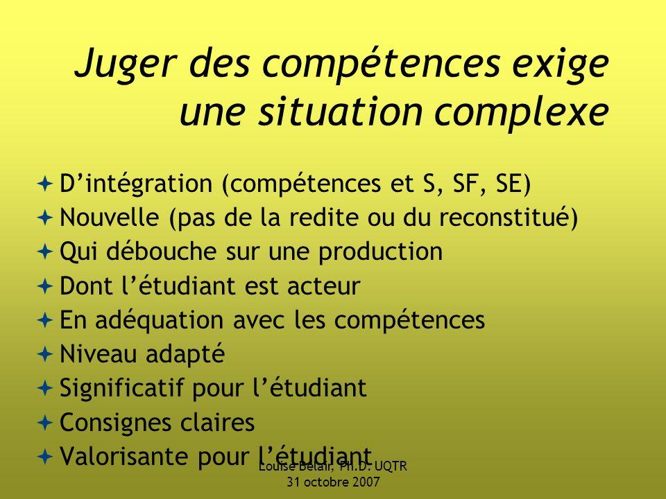 Juger des compétences exige une situation complexe