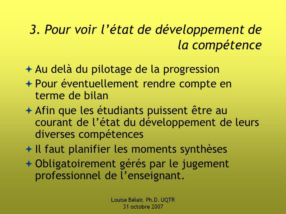 3. Pour voir l'état de développement de la compétence
