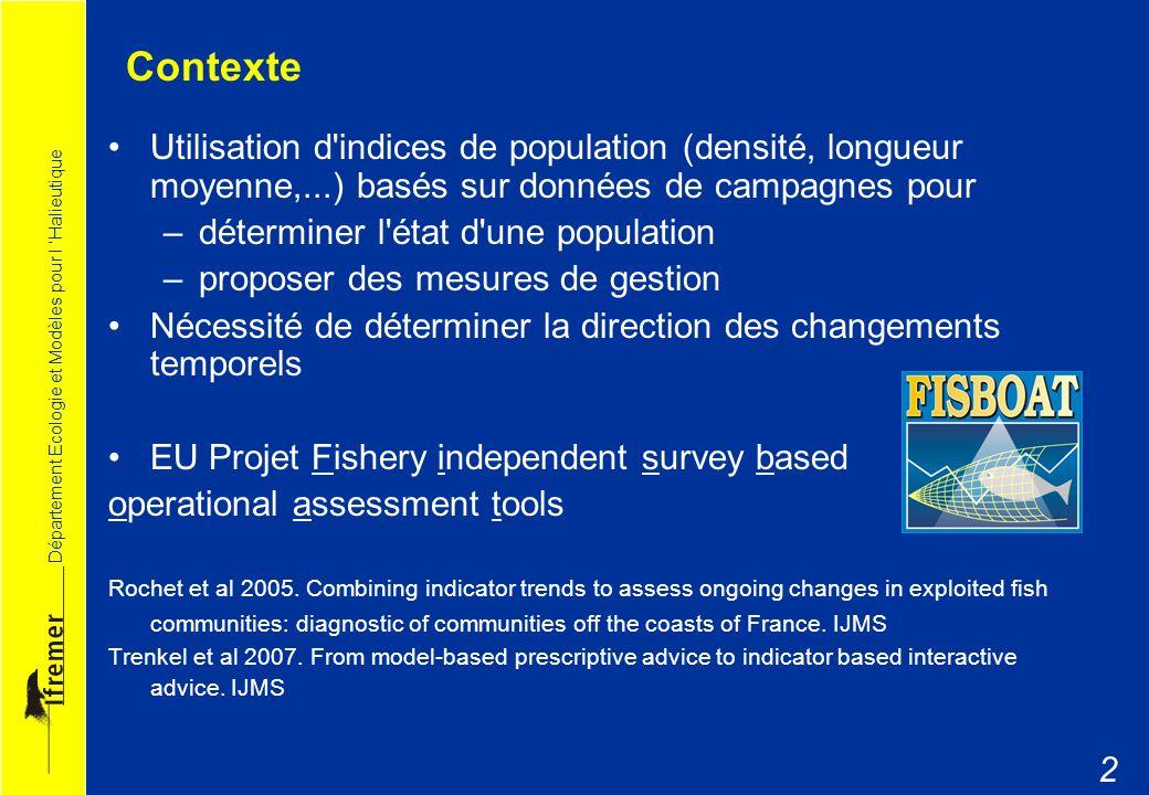 Contexte Utilisation d indices de population (densité, longueur moyenne,...) basés sur données de campagnes pour.