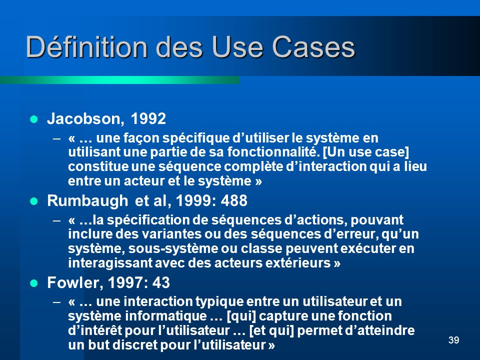 Définition des Use Cases