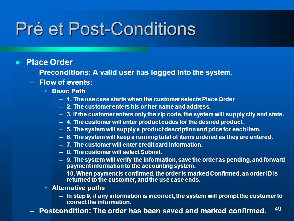 Pré et Post-Conditions