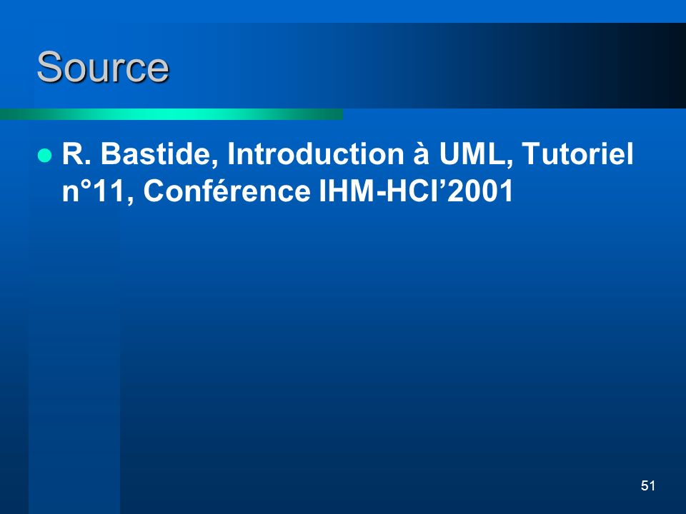 Source R. Bastide, Introduction à UML, Tutoriel n°11, Conférence IHM-HCI'2001