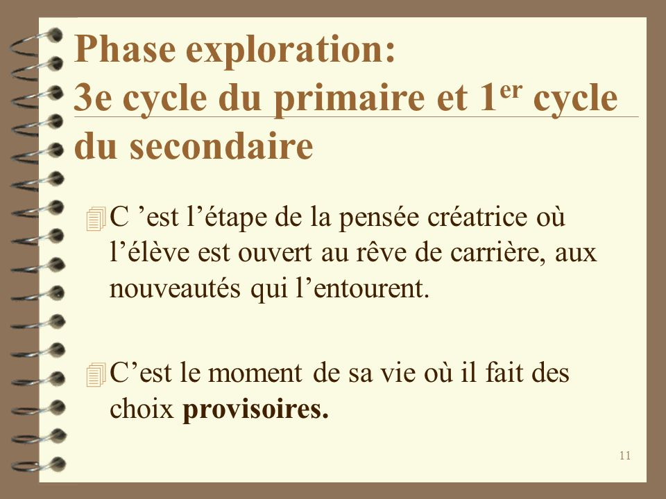 Phase exploration: 3e cycle du primaire et 1er cycle du secondaire