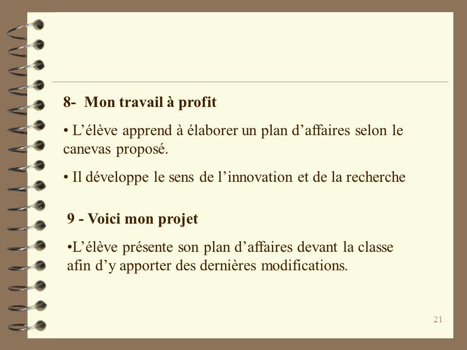 8- Mon travail à profit L'élève apprend à élaborer un plan d'affaires selon le canevas proposé.