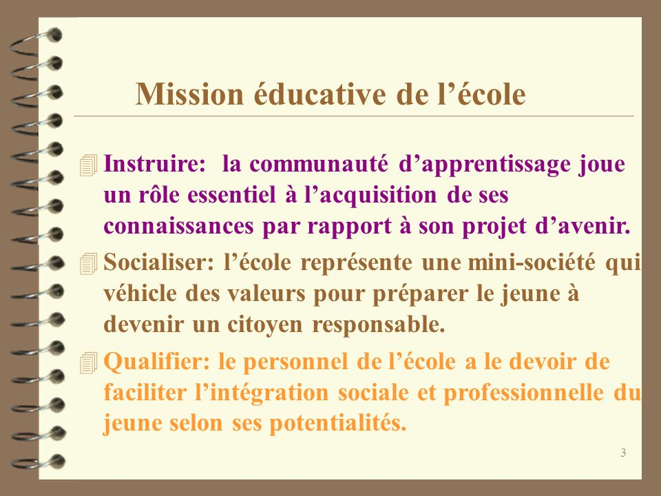 Mission éducative de l'école
