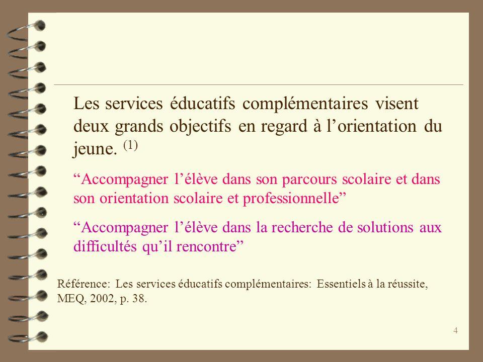 Les services éducatifs complémentaires visent deux grands objectifs en regard à l'orientation du jeune. (1)