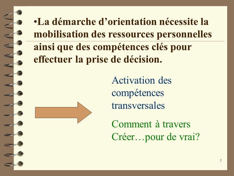 La démarche d'orientation nécessite la mobilisation des ressources personnelles ainsi que des compétences clés pour effectuer la prise de décision.