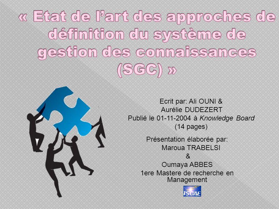 « Etat de l'art des approches de définition du système de gestion des connaissances (SGC) »