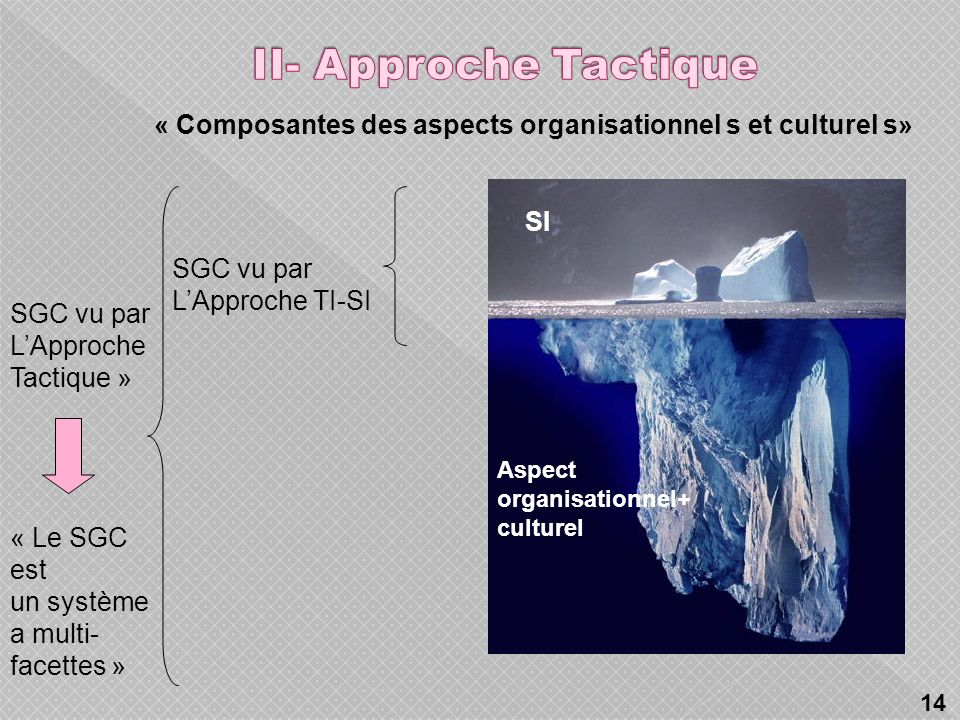 II- Approche Tactique « Composantes des aspects organisationnel s et culturel s» SI. SGC vu par. L'Approche TI-SI.