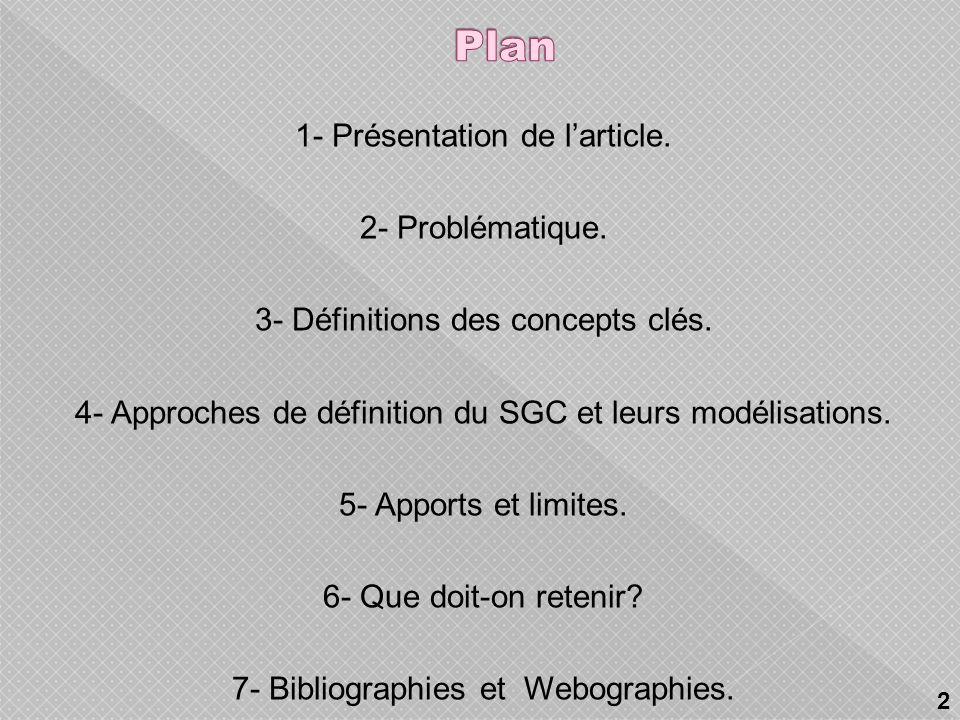Plan 1- Présentation de l'article. 2- Problématique.