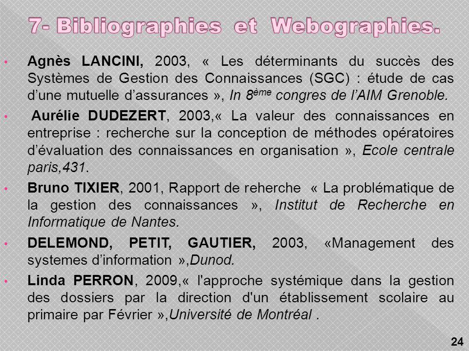7- Bibliographies et Webographies.