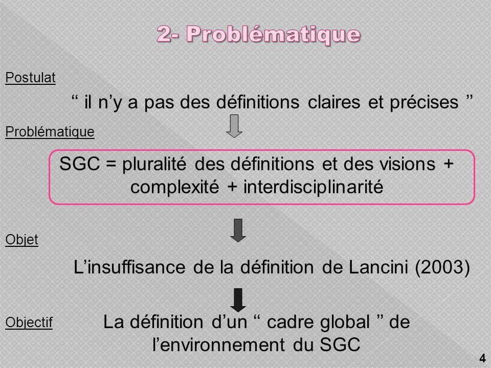 2- Problématique Postulat. '' il n'y a pas des définitions claires et précises '' L'insuffisance de la définition de Lancini (2003)