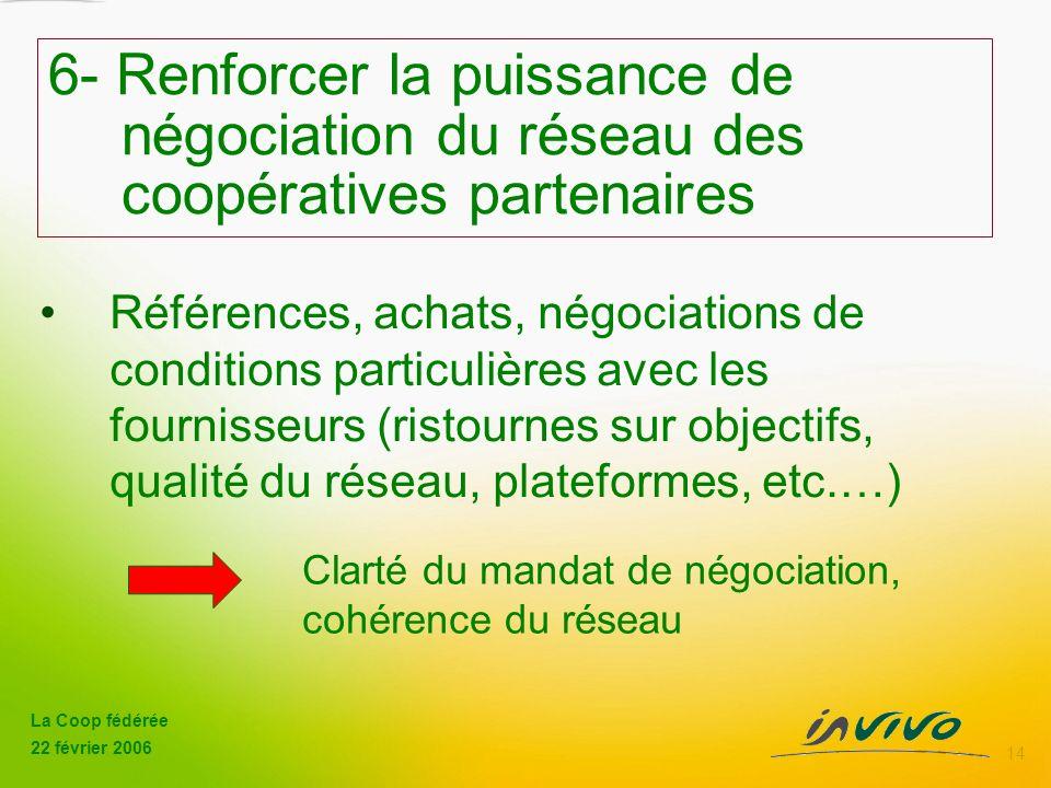 6- Renforcer la puissance de. négociation du réseau des