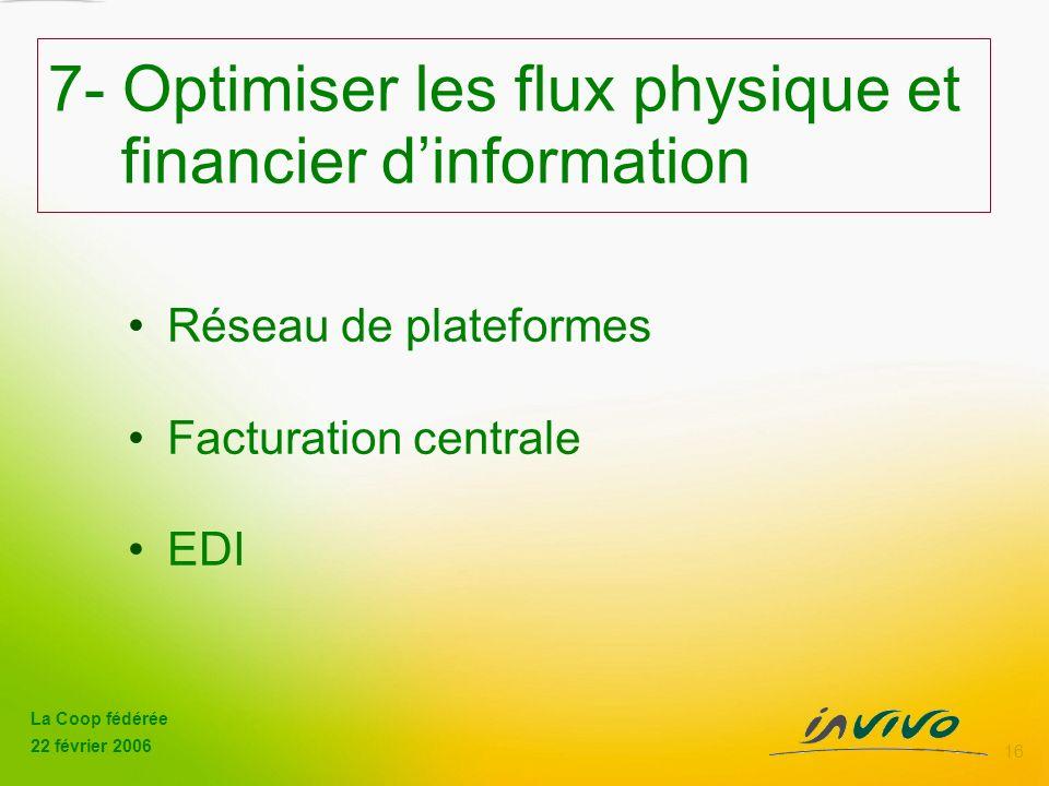 7- Optimiser les flux physique et financier d'information