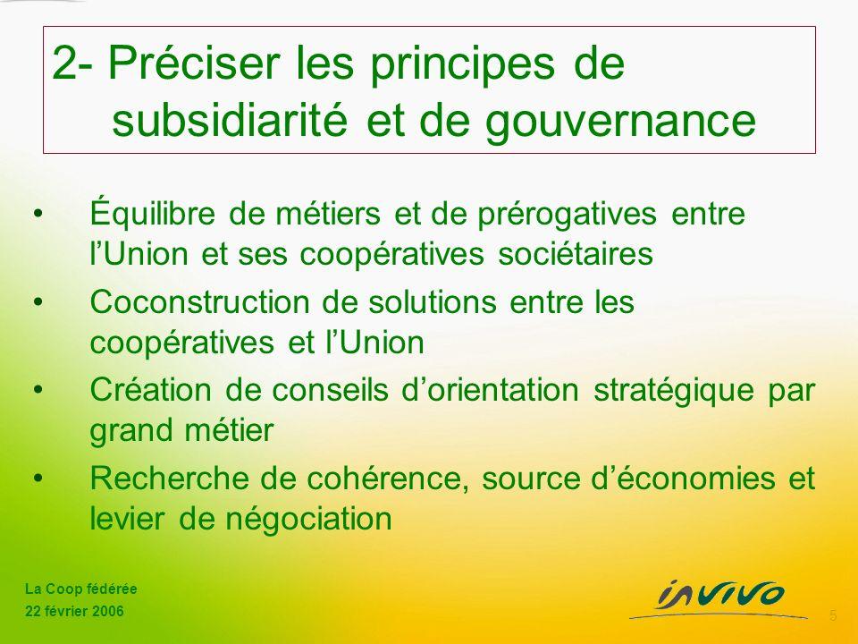 2- Préciser les principes de subsidiarité et de gouvernance