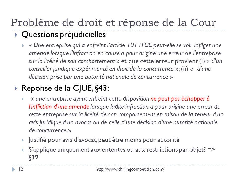 Problème de droit et réponse de la Cour
