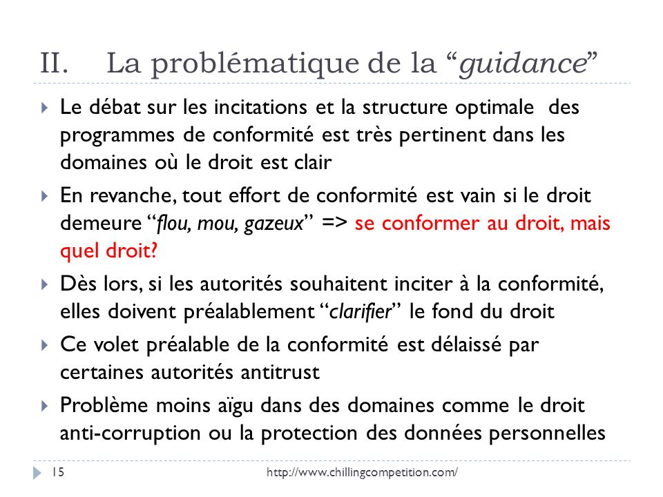 II. La problématique de la guidance