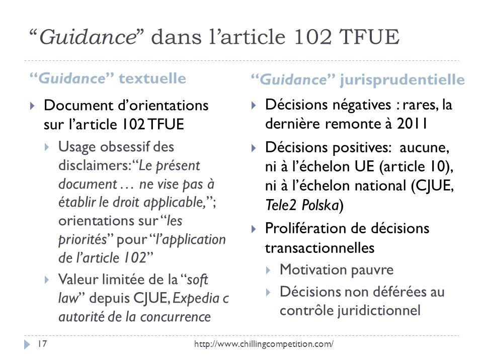 Guidance dans l'article 102 TFUE