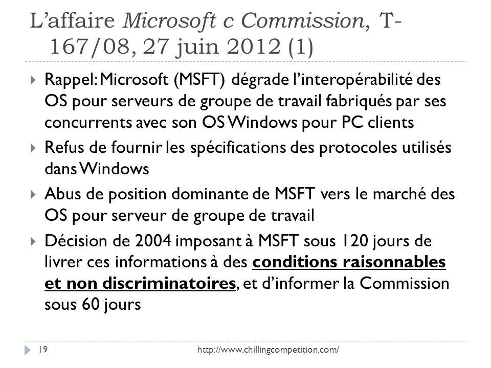 L'affaire Microsoft c Commission, T-167/08, 27 juin 2012 (1)