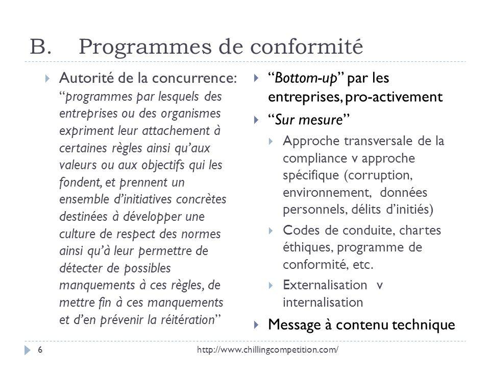 B. Programmes de conformité