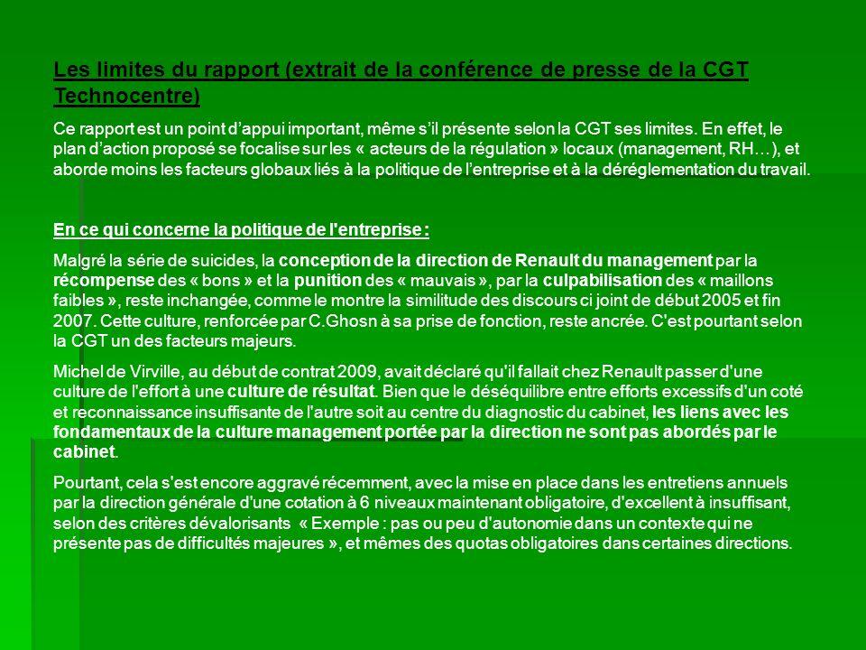 Les limites du rapport (extrait de la conférence de presse de la CGT Technocentre)