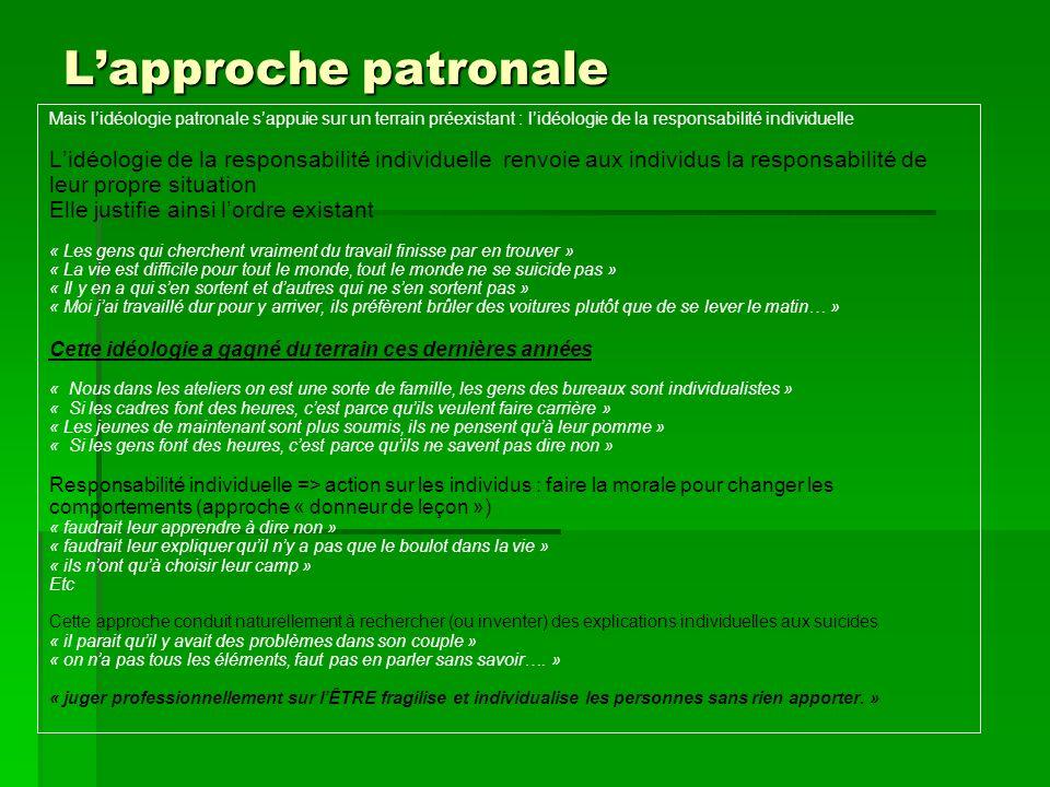 L'approche patronale Mais l'idéologie patronale s'appuie sur un terrain préexistant : l'idéologie de la responsabilité individuelle.