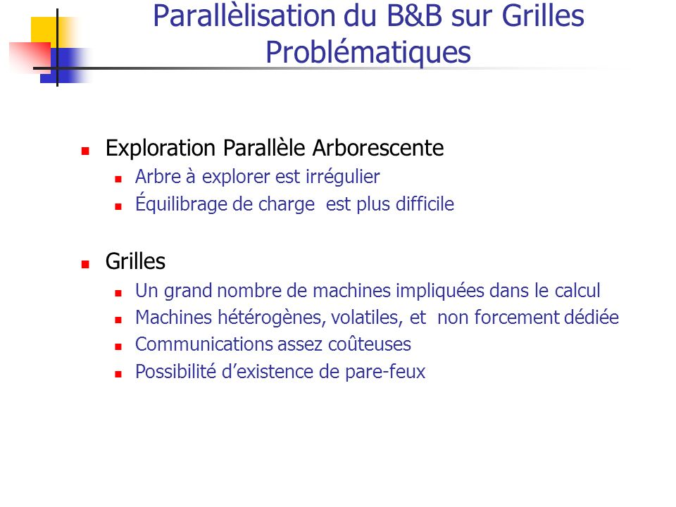 Parallèlisation du B&B sur Grilles Problématiques