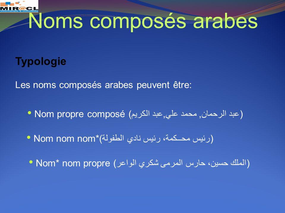 Noms composés arabes Typologie Les noms composés arabes peuvent être: